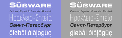 Eurostile Next was expanded with additional widths as well as italic styles. And it also supports Greek and Cyrillic.