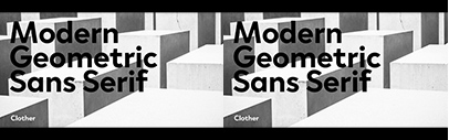 @blackfoundry released Clother' a geometric sans serif typeface' which supports Latin' Cyrillic' Hebrew' and Arabic.