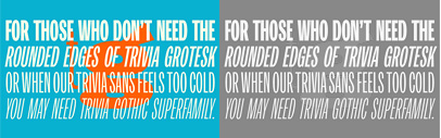 Storm Type Foundry released Trivia Gothic' a grotesque supporting Cyrillic and Greek.