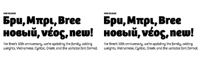 Bree was updated; a new weight' improved k and Euro symbol' additional glyphs' and Vietnamese characters. Besides of them' Bree Cyrillic and Greek were released.