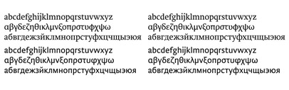 Brioni Pro' complete Greek and Cyrillic character sets for Typotheque's popular book typeface.